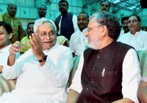 Nitish Kumar and Shushil Kumar Modi after they were