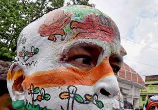 A Trinamool Congress supporter paints his face in party's colors during celebration of the party's win in West Bengal Assembly elections, in Kolkata.