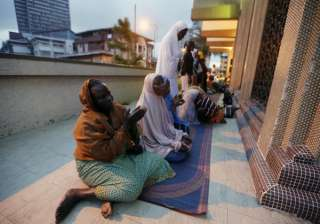 Nigerian Muslims offer prayers on the first day of Ramadan at the central Mosque in Lagos, Nigeria.