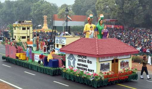 The tableau of the Ministry of Housing Urban Poverty Alleviation passes through the Rajpath, on the occasion of the 68th Republic Day Parade 2017, in New Delhi on January 26, 2017.