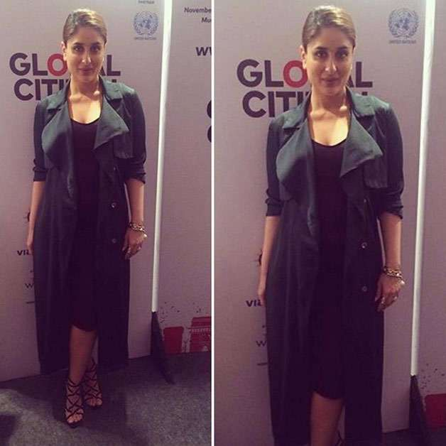 Black seems to be Kareena's favourite color as is was once again spotted slaying in her black dress complimented with a contrasting green overcoat.
