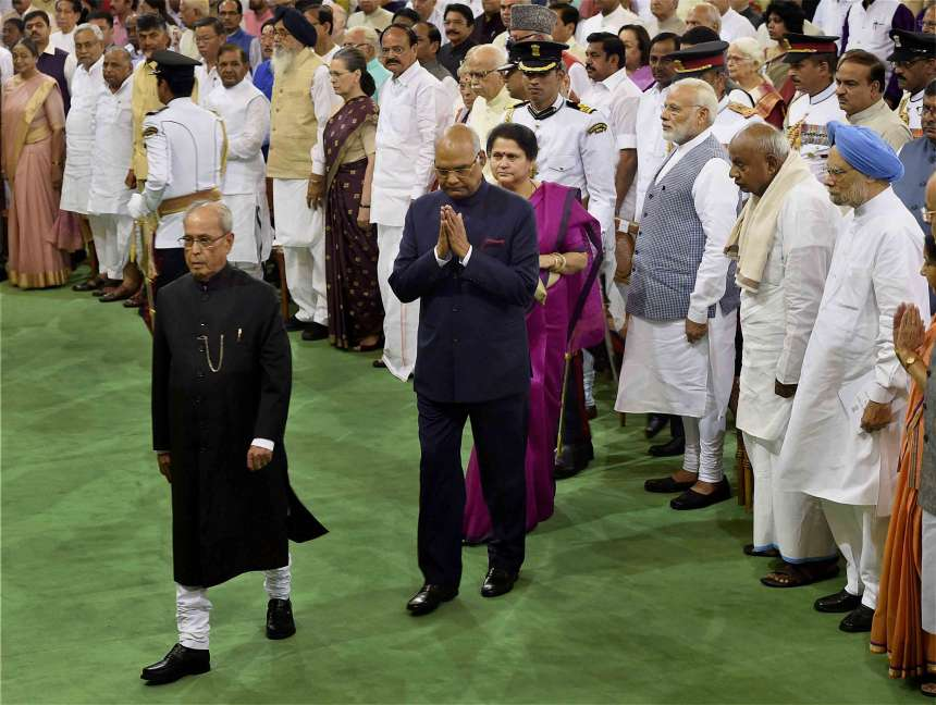 President-elect Ram Nath Kovind with his predecessor Pranab Mukherjee arrives to take oath as the 14th President of India