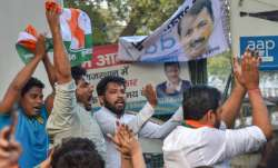 Indian Youth Congress activists protest against Kejriwal