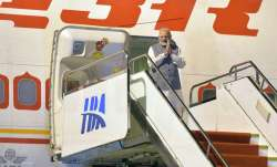 PM Modi arrives at the airport in Wuhan, central China's