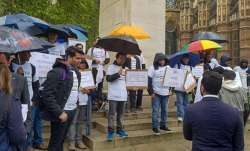 Indian protest outside Parliament in London against UK's