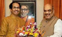 Uddhav Thackeray with Amit Shah- File photo