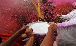 Holi celebrations at the Swaminarayan temple in Ahmedabad,