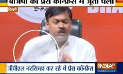 BJP spokespersonGVLNarasimhaRaoduring a press