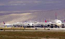 Delta Airlines aircraft are stored at Southern California