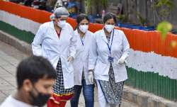 A file photo of health workers after inspecting the