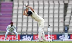 Dom Sibley of England is bowled by Shannon Gabriel of the