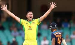 Josh Hazlewood takes the first wicket