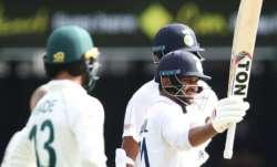 Shardul Thakur of India celebrates his half century during