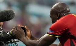 Belgium's Romelu Lukaku celebrates after scoring his sides