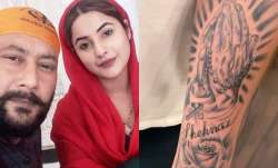 Shehnaaz Gill's father gets her name tattooed on his arm