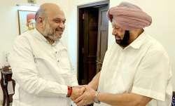 Amarinder Singh meets Amit Shah in New Delhi.