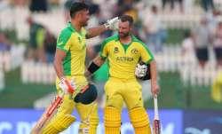 Australia's Marcus Stoinis, left, and Matthew Wade celebrate winning their Cricket Twenty20 World Cu