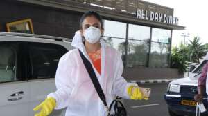 PHOTOS: Rakul Preet Singh spotted at airport wearing PPE kit