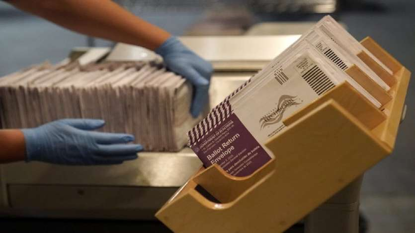 Envelopes containing ballots are shown at a San Francisco Department of Elections at a voting center in San Francisco.
