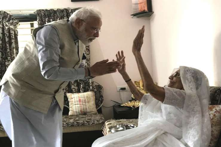 Image result for Modi meets mother before voting